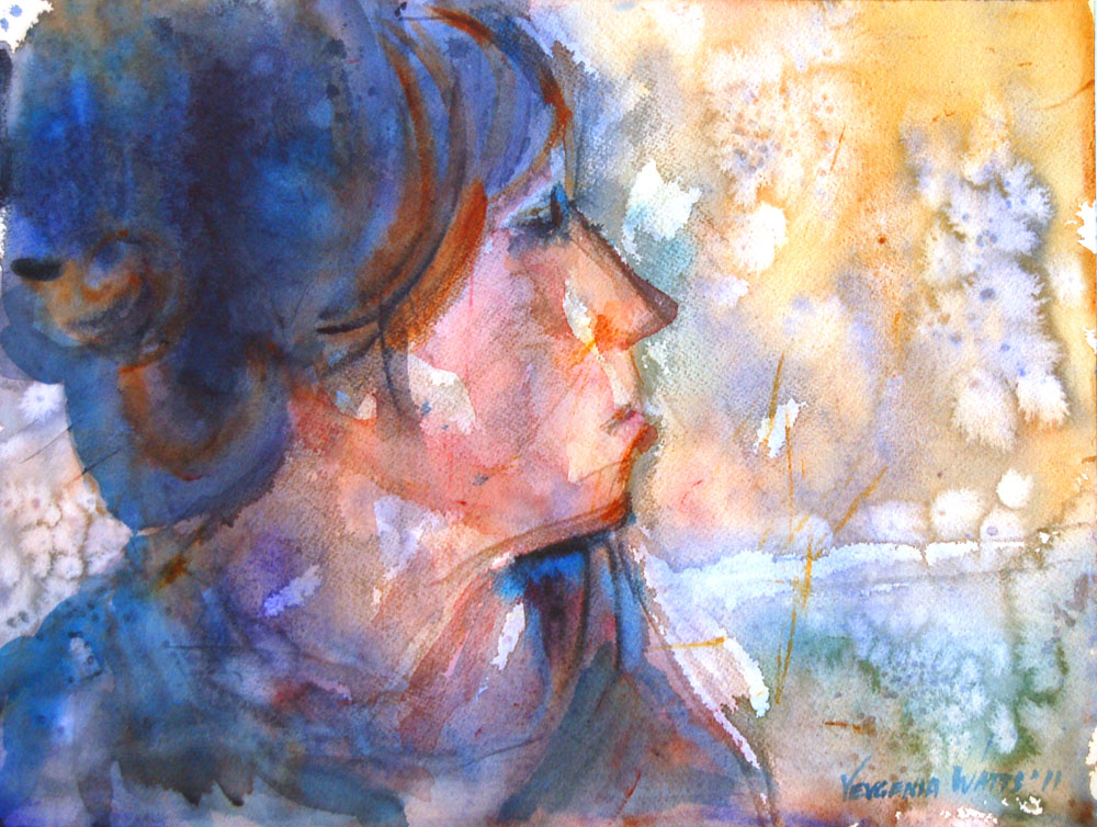 woman profile watercolor painting