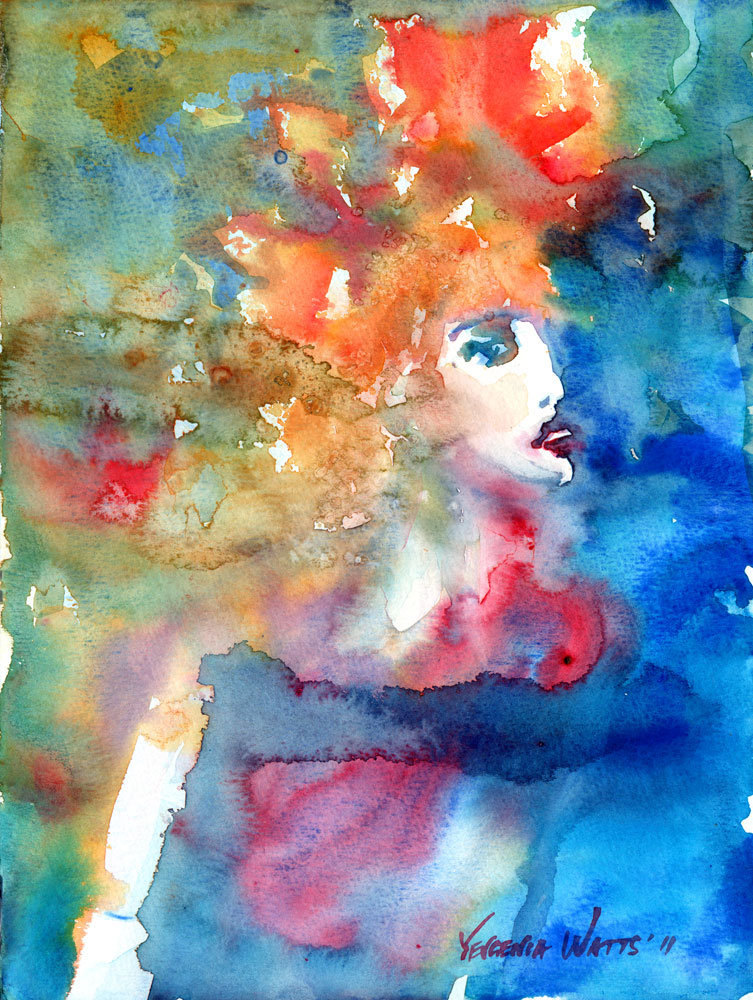 beautiful woman abstract background colorful watercolor painting