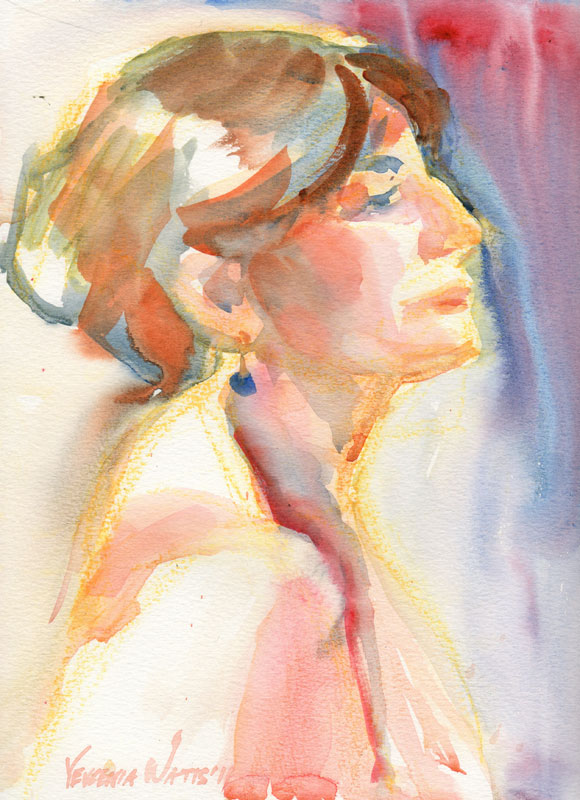 Hispanic Women's Profile Loose Watercolor Portrait Painting