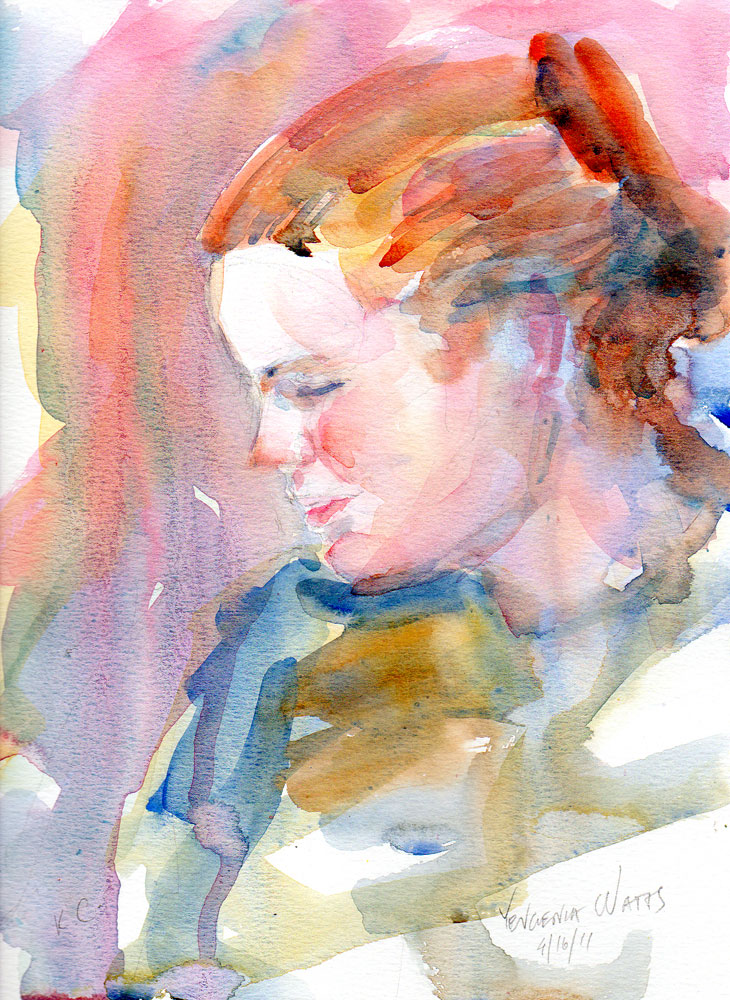 watercolor portrait of a young woman profile