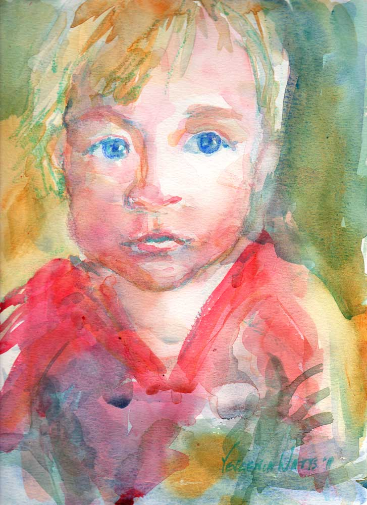 original watercolor portrait painting from photo little boy