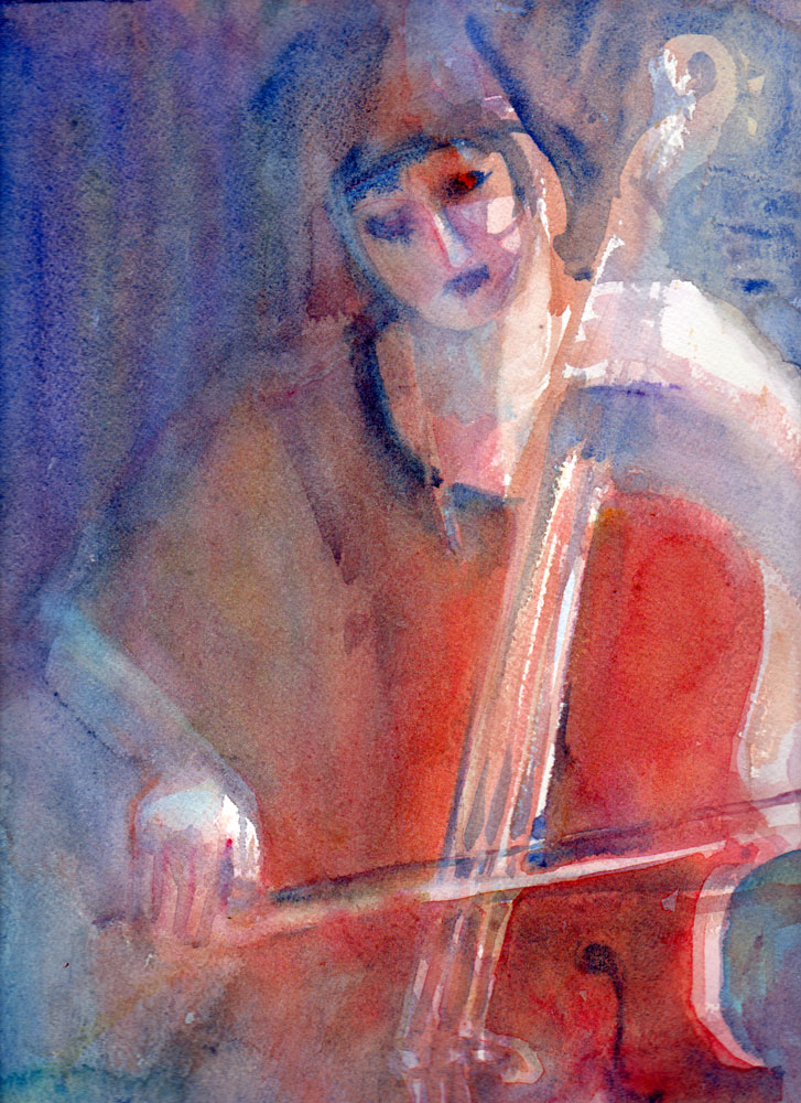 musician woman with viola watercolor painting