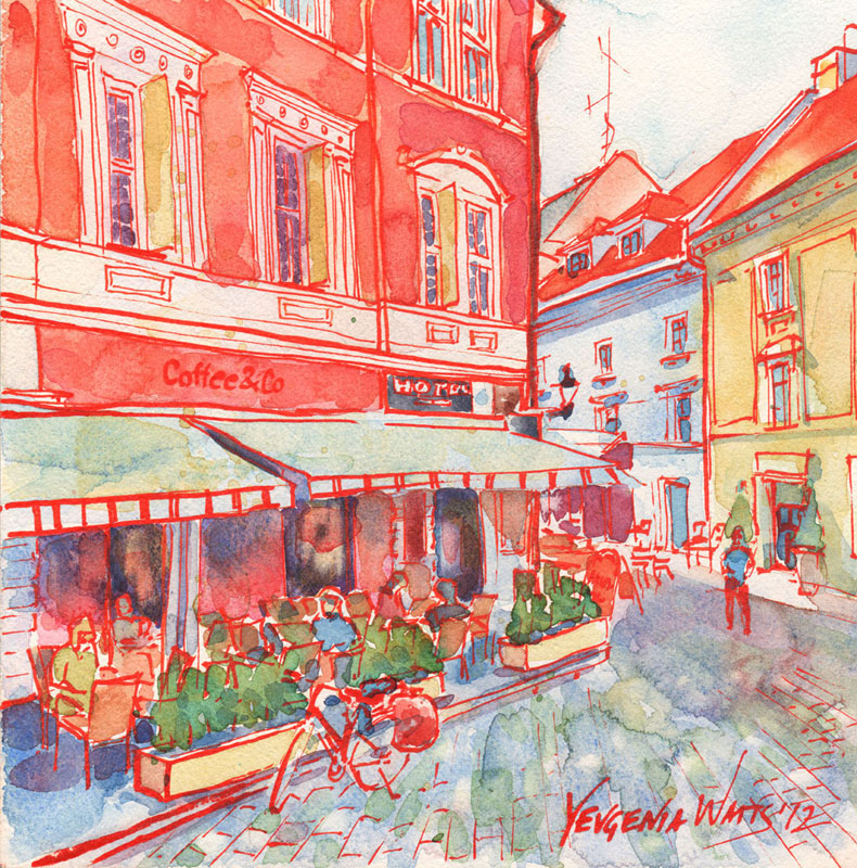 european coffee shop street scene art for sale