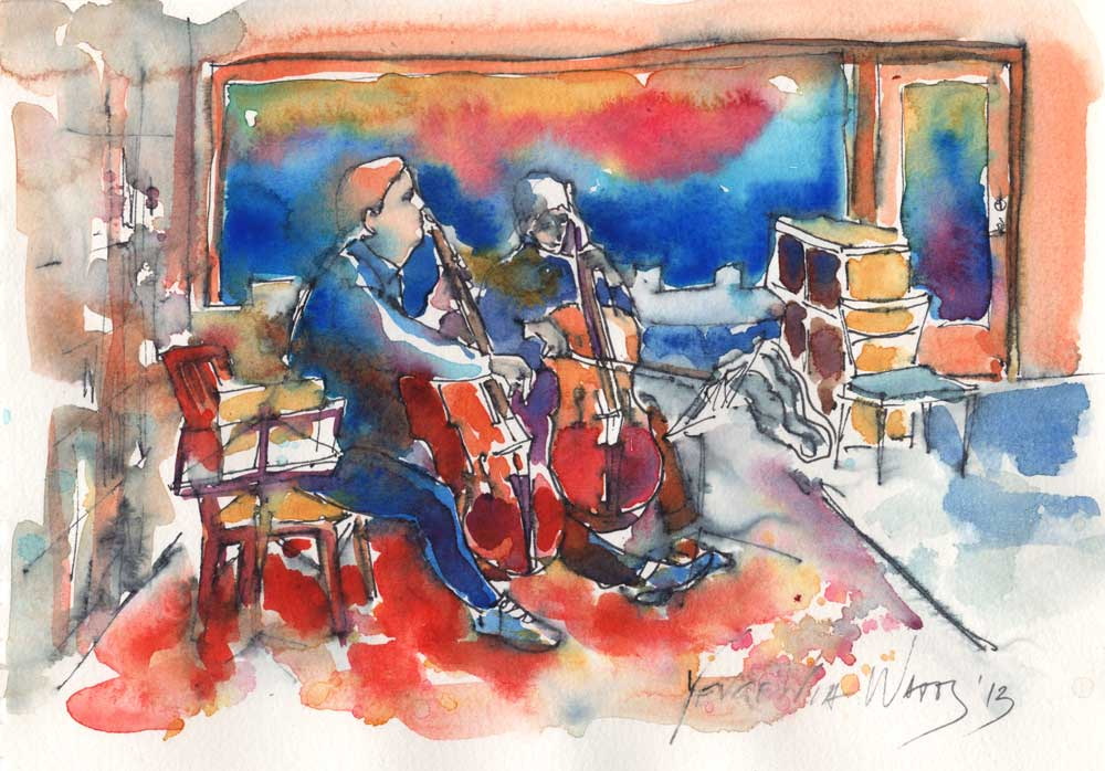 watercolor and ink sketch musicians playing cellos