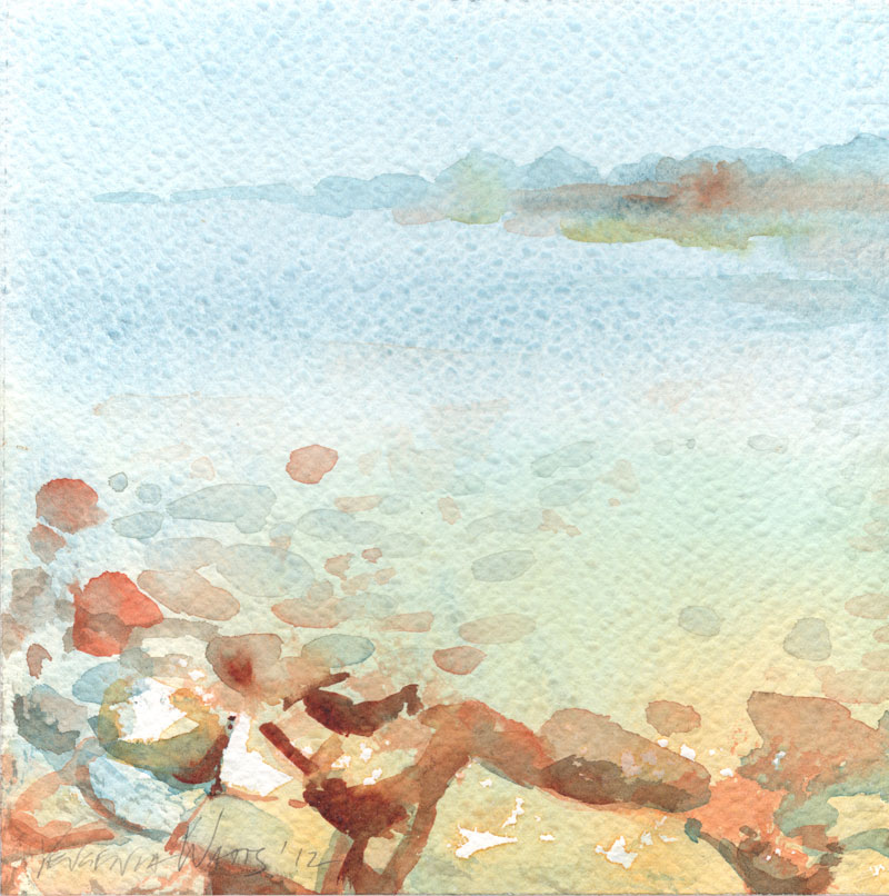 serene beach scene original art watercolor