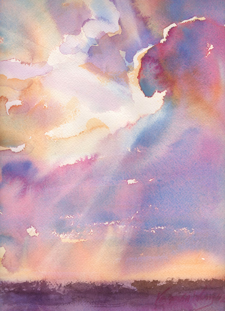 cloudy sunset watercolor original painting for sale
