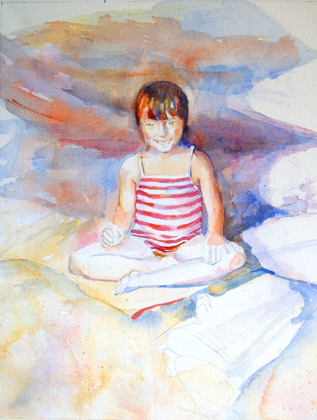 watercolor painting in progress little girl on the beach