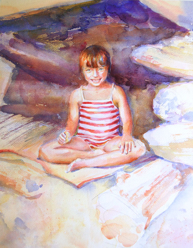 child on the beach painting in progress