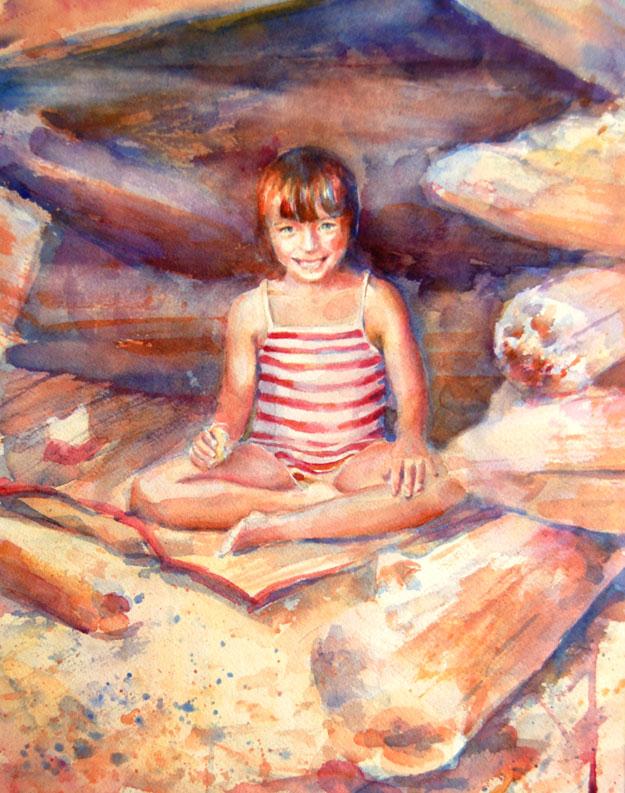 little girl on the beach watercolor in progress