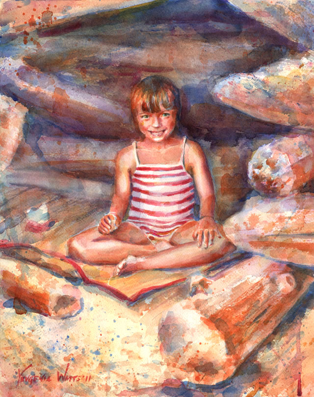 child sitting cross-legged on the beach watercolor portrait painting
