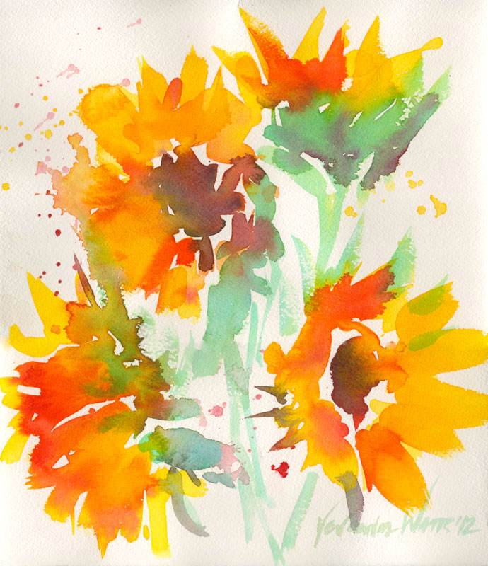 sunflowers original art for sale watercolor painting