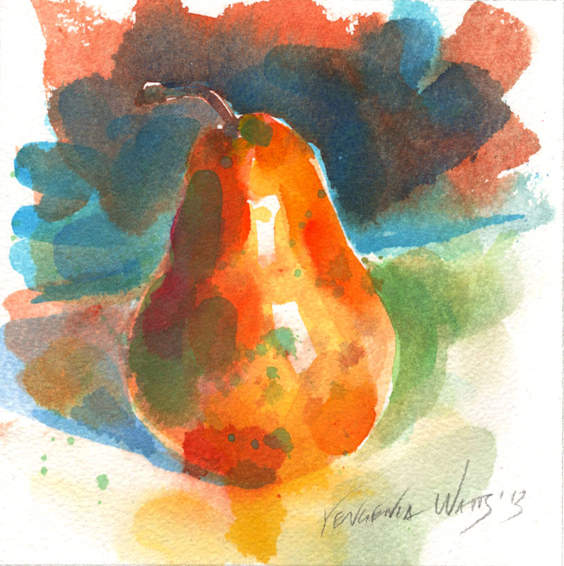 pear original painting for sale watercolor