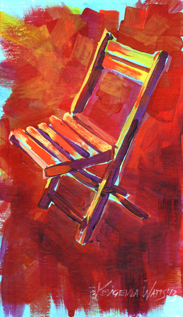 chair art painting for sale acrylic red colorful