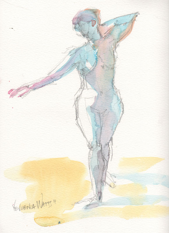 woman figure drawing standing nude watercolor