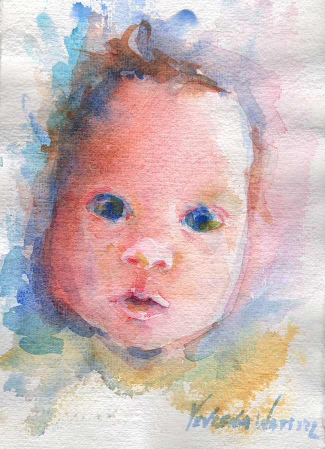 watercolor sketch of a baby face
