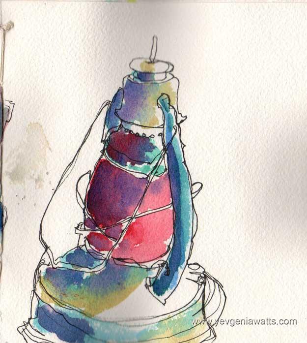 vintage kerosene lamp sketch