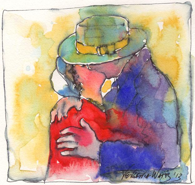 couple kissing original art watercolor ink romantic kiss colorful