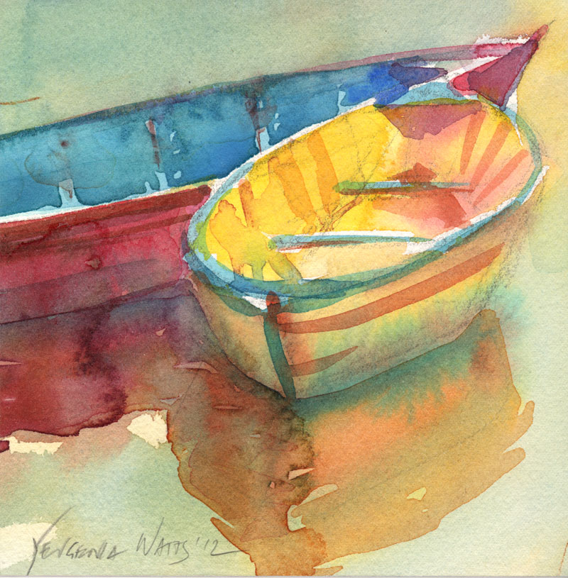 colorful boats watercolor original painting for sale