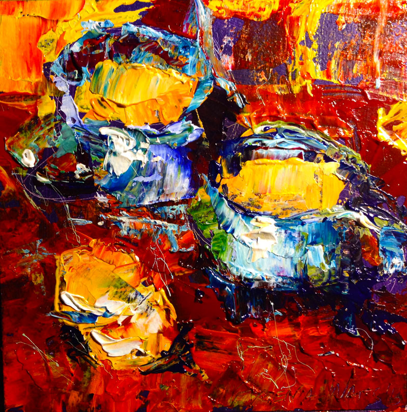 acrylic original painting for sale cups cookies still life kitchen decor