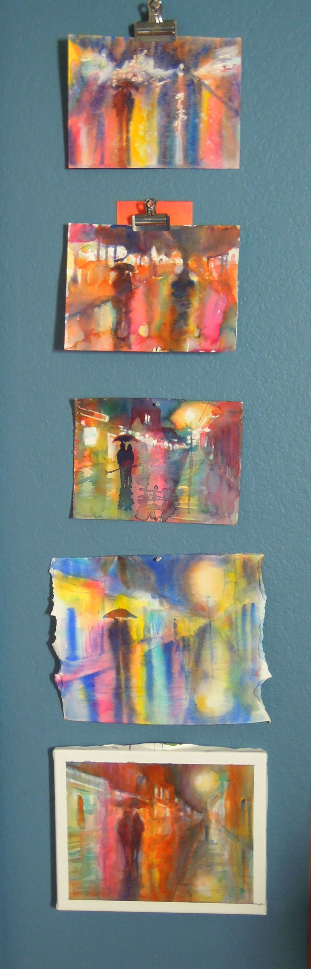 new orleans rainy night watercolor painting studies