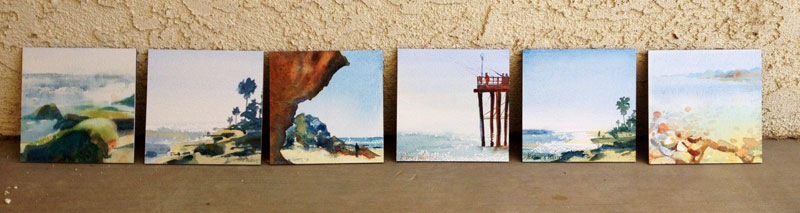 series of ocean themed watercolor paintings for sale