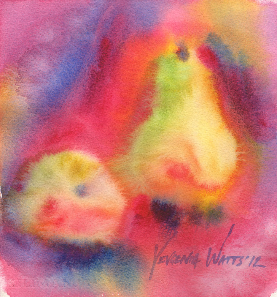 pears watercolor painting for sale wet-into-wet wet on wet