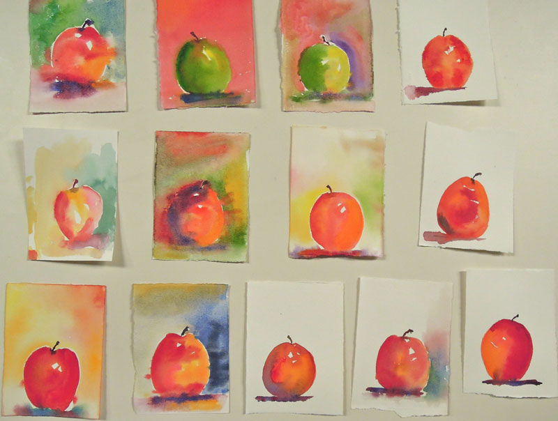 apples watercolor sketches