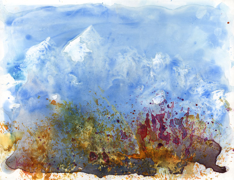 mountains watercolor on yupo