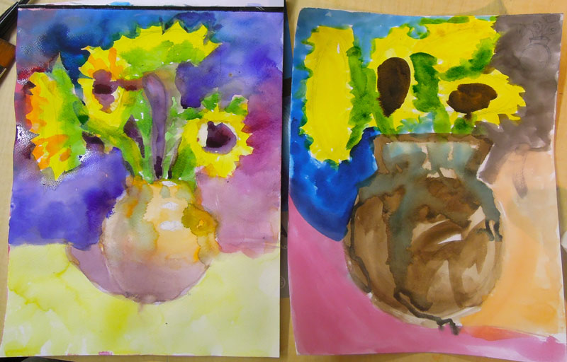 student painting before and after
