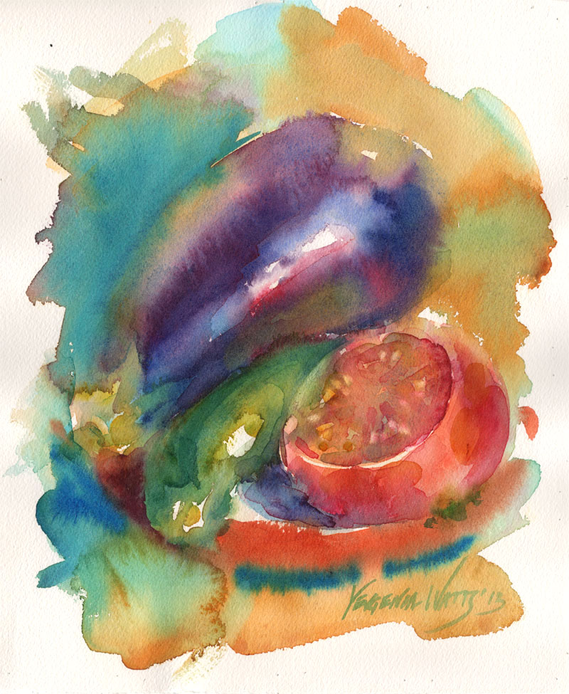 eggplant zuccini tomato art painting for sale