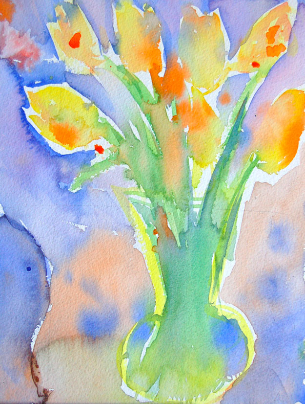 tulips watercolor painting student