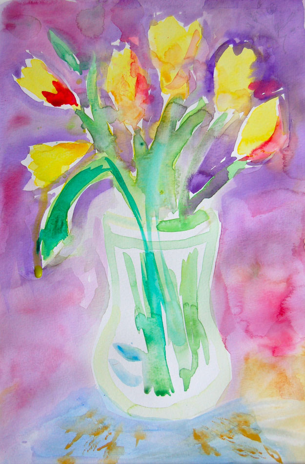 tulips watercolor painting by student