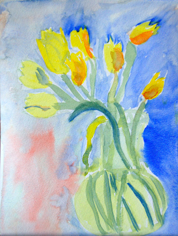 yellow tulips watercolor painting by student
