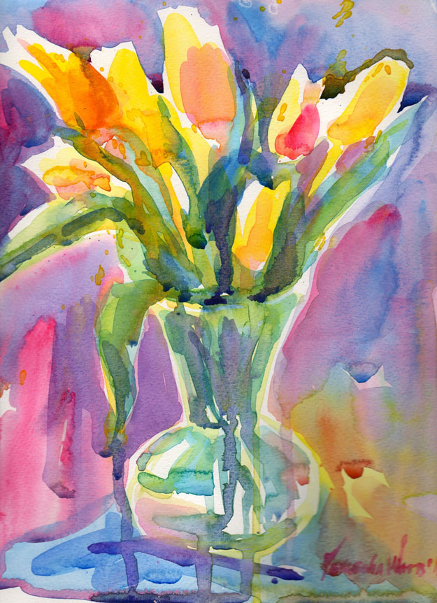 yellow tulips watercolor painting