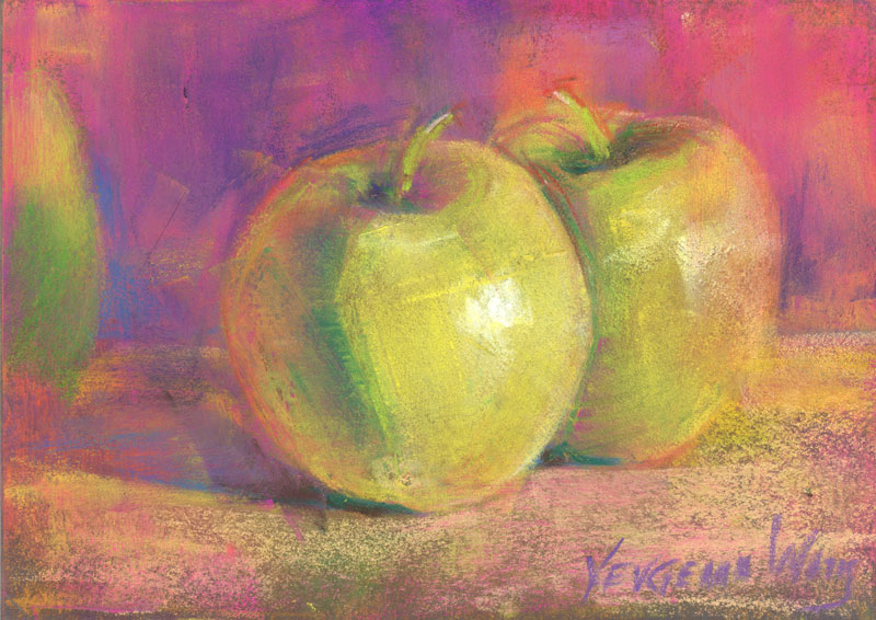 pastel painting green apples for sale
