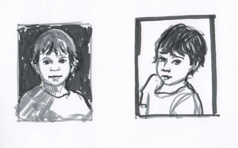 thumbnail sketches of portraits