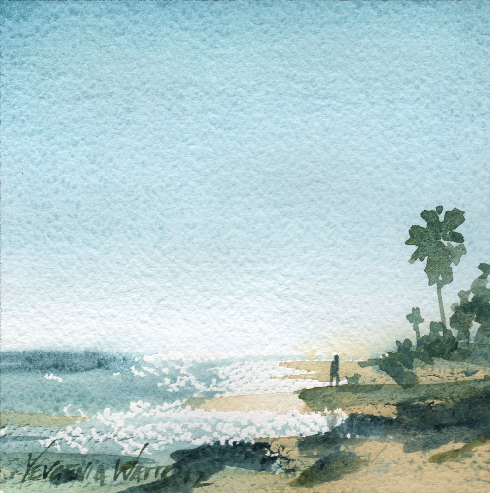 beach scene watercolor dog ocean sea painting art