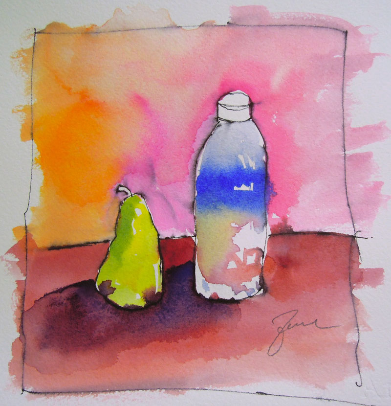 water bottle and pear ink and watercolor sketch