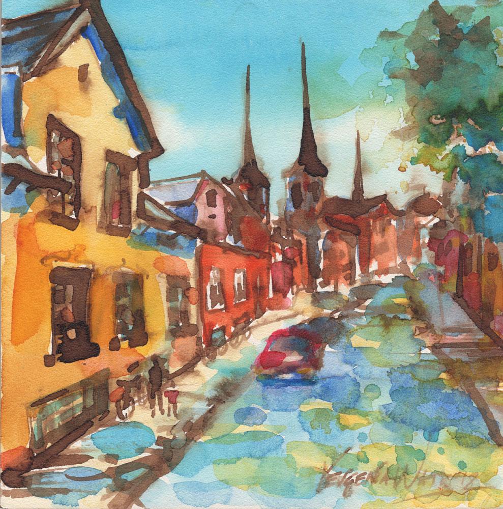 european town street painting
