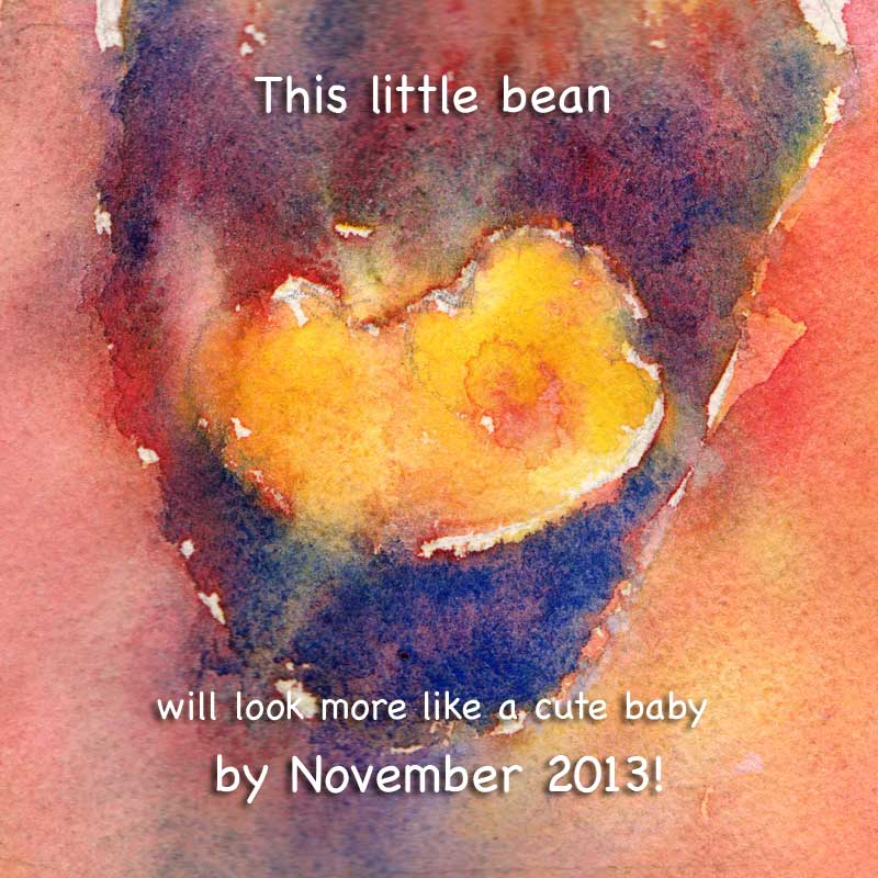 ultrasound watercolor art pregnancy announcement