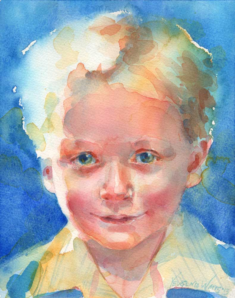 little boy portrait in watercolor