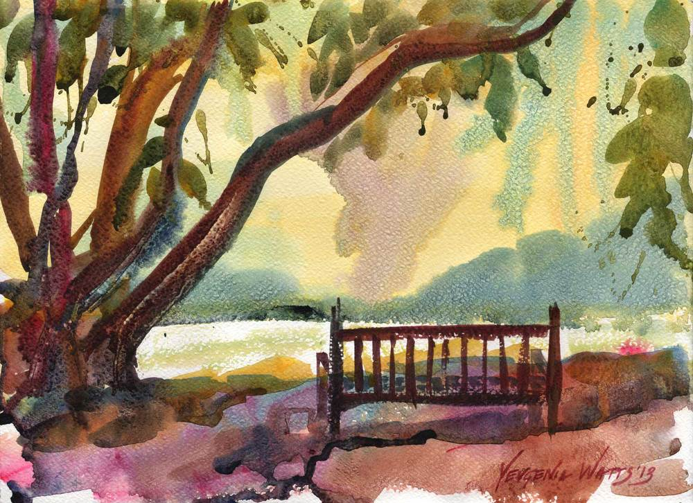 """Under the Fig Tree"" - 11 x 15"" Watercolor on paper. $95. Buy here."