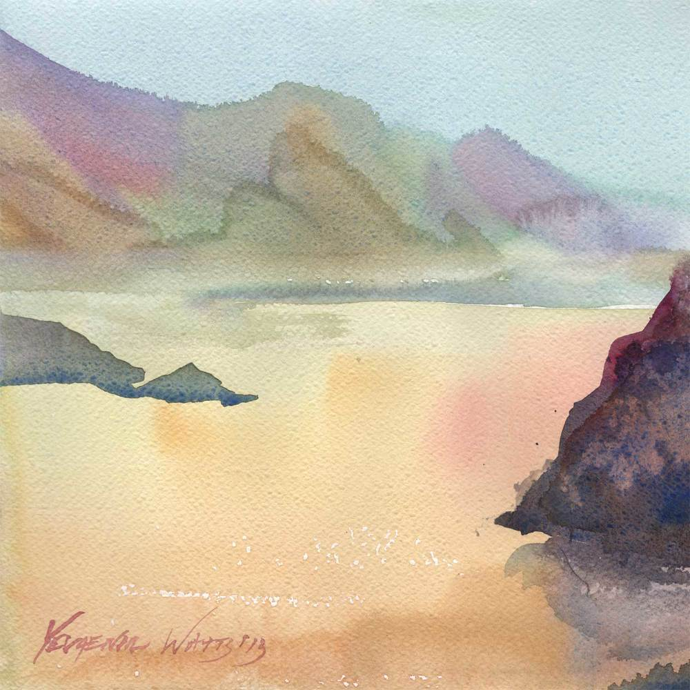 "Point Reyes. Watercolor on paper. 11 x 11"". $65.  Buy here."