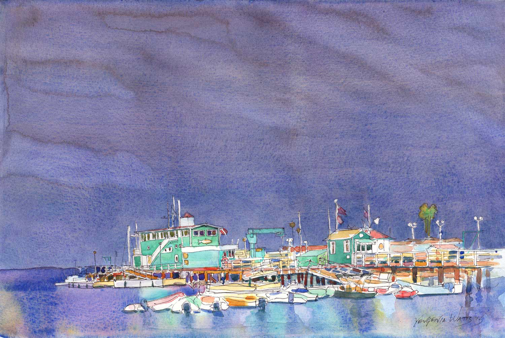 "Avalon Pier. 11x15"" Watercolor and Ink on watercolor paper. $120.  Buy here."