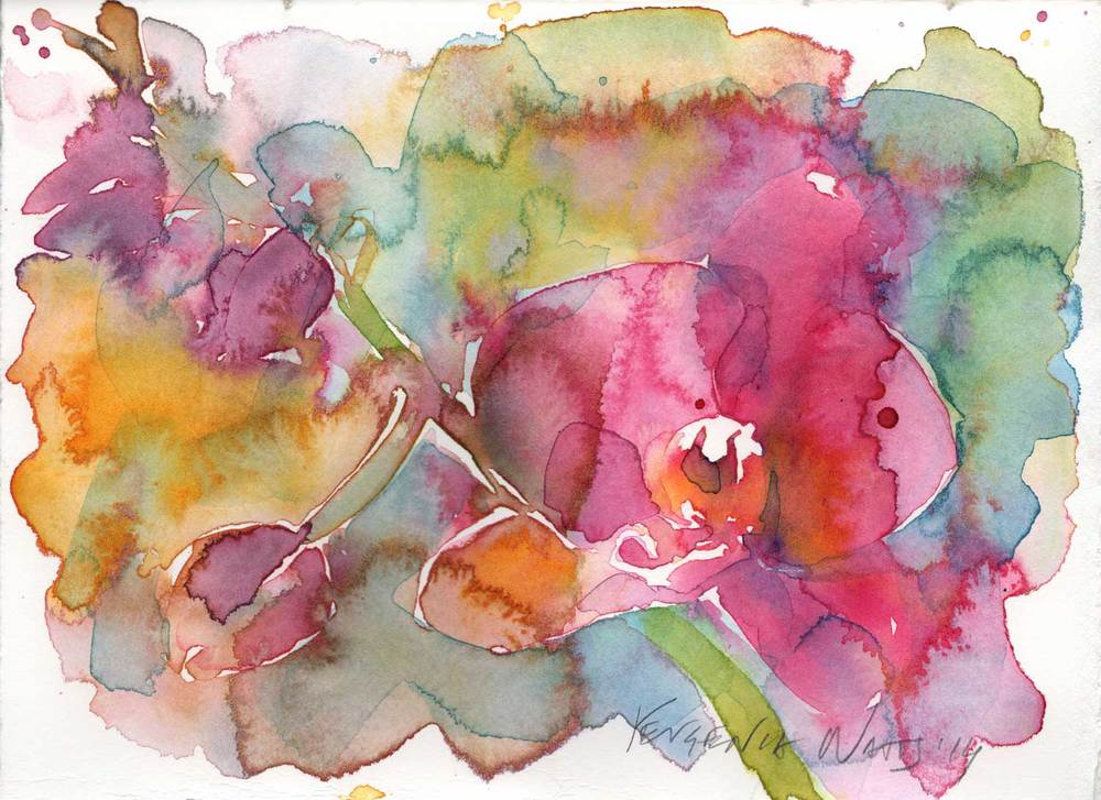 "Watercolor on Fabriano Artistico hot press 140lb watercolor paper. 5.5 x 7.5"". Special price of $50 until February 1."