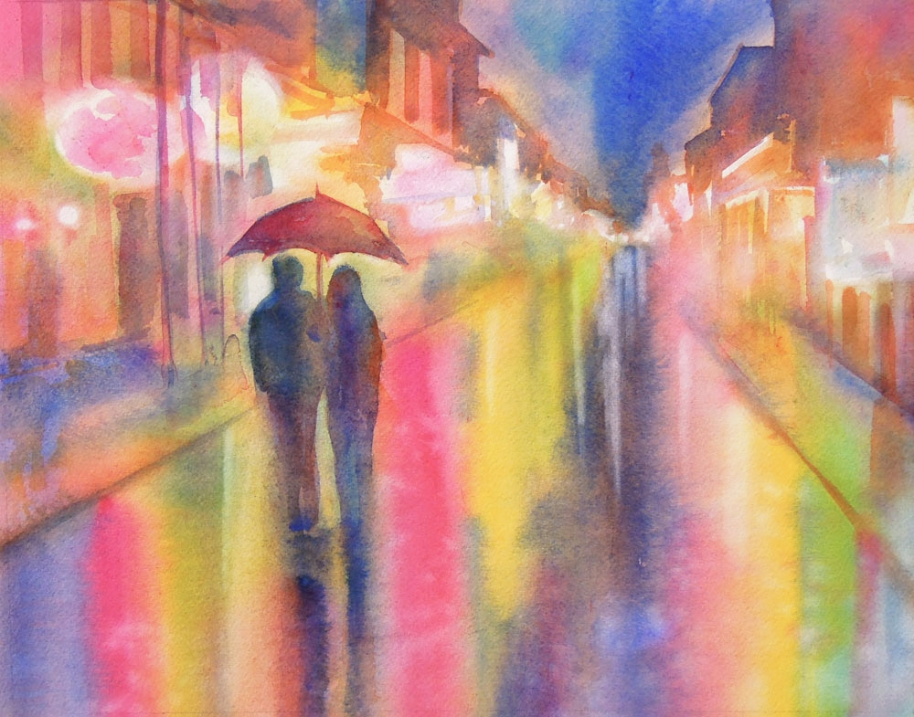 rainy street couple under umbrella watercolor painting