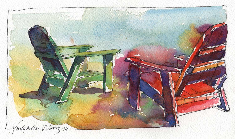 Adirondack Chairs Signed Print
