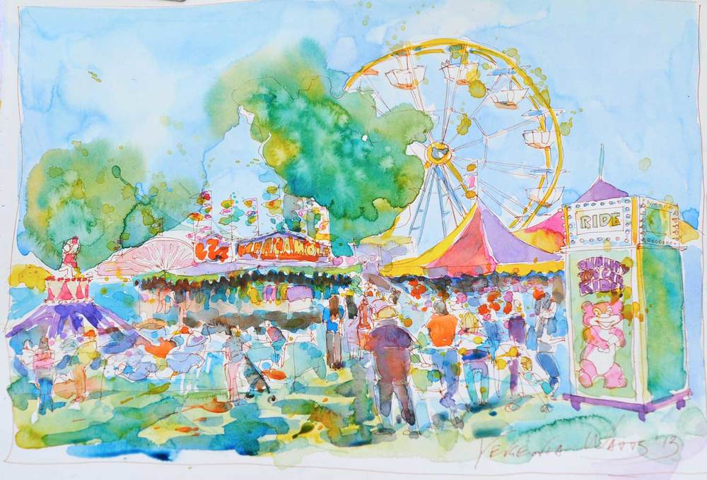 San Bernardino county fair. Watercolor on paper, not available.