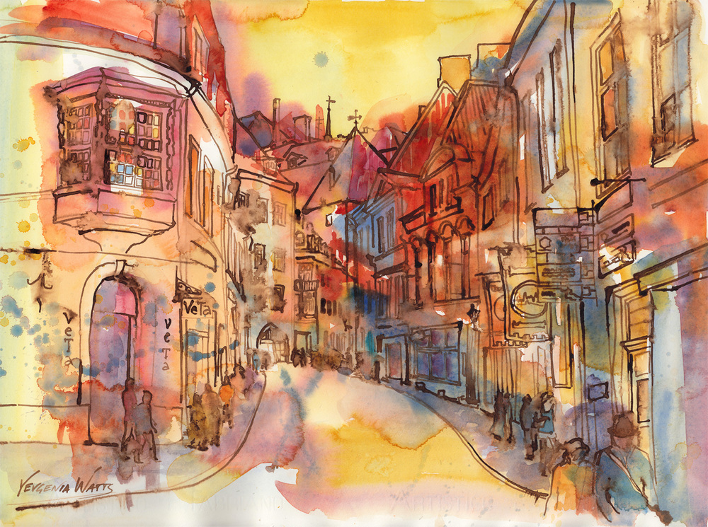 "Tallinn. 15x22"" Watercolor and walnut ink on hot press paper. Click on the image to buy."