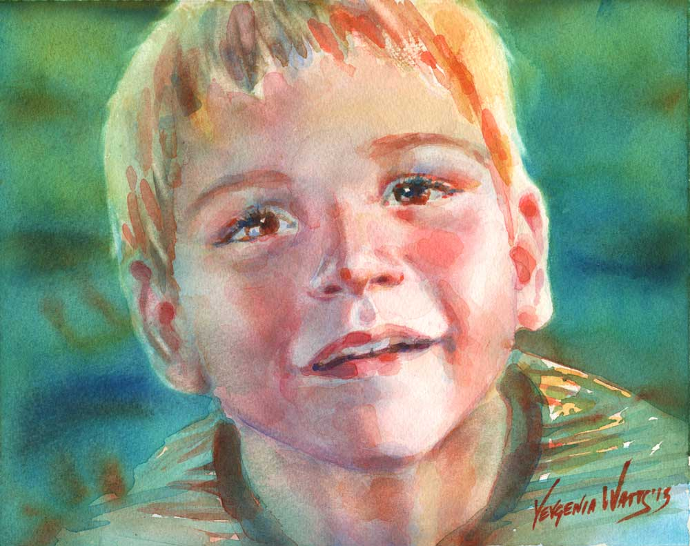 watercolor portrait step by step theo art by yevgenia watts